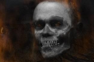burning skull self-portrait