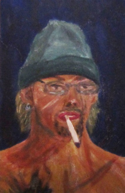 Self-portrait: Oil on wood.
