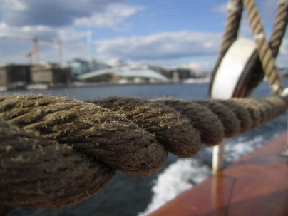 The ropes at a sail ship on the Oslo Fjord
