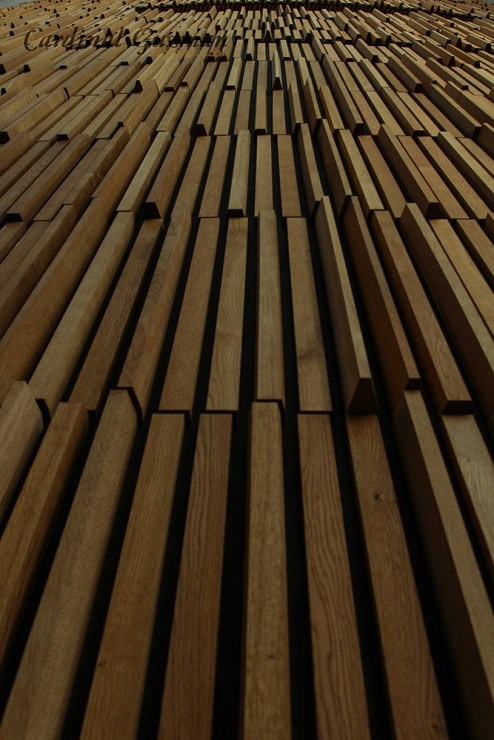 Details from the waving wood wall.