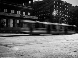 A tram passing by the City Hall.