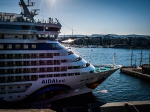 A cruise ship by Akershus Fortress