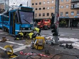 Truck versus tram