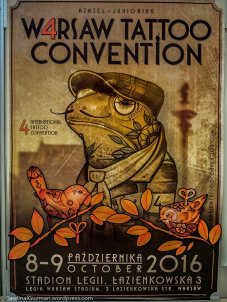An ad for Warsaw Tattoo Convention at Budapest Tattoo Convention.