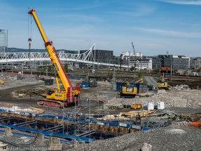 May 2016: Construction site. Nordenga bru (Nordenga bridge) in the background).