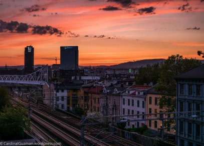 Sunset cityscape.