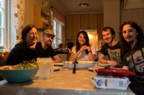 The whole crew. Maurizio made spaghetti carbonara, because that's what Italians do. Since I was driving, I didn't have to cook and we voted NO to frogs legs, so the Frenchies were stuck doing dishes.