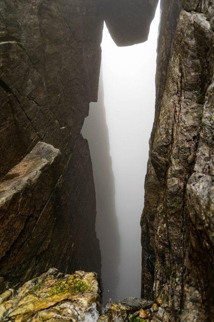 Kjeragbolten is suspended above a 984-metre deep abyss.