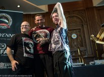 """Mark Bester (the guy in the middle) won """"best crazy tattoo""""."""