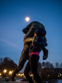 A Couchsurfer having some good old statue fun in Frognerparken.
