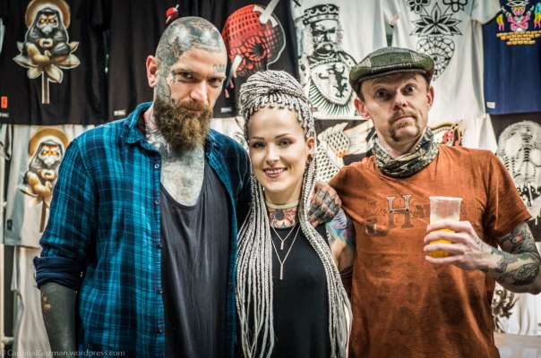 Milano Tattoo Convention: Jakub, Sylwia and Max. Photo: Unknown with my camera.