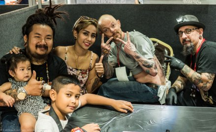The amazing Peerapong Bank Tattoo Family, myself and Stephane Loudin.