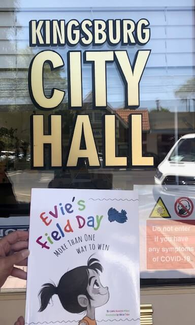 Bookwalks. My picture book, EVIE'S FIELD DAY: More Than One Way to Win, is the featured title this year in my home town of Kingsburg, California.