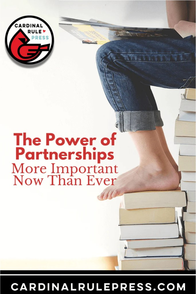 The Power of Partnerships: More Important Now Than Ever. Ways to creatively promote my library's services, create new programming strategies, and build connections with community members, authors, and publishers both local and beyond. #Partnership #CreativeMarketing #Libraries #Booksellers
