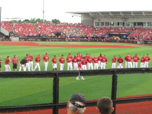 Team lining up before the game..