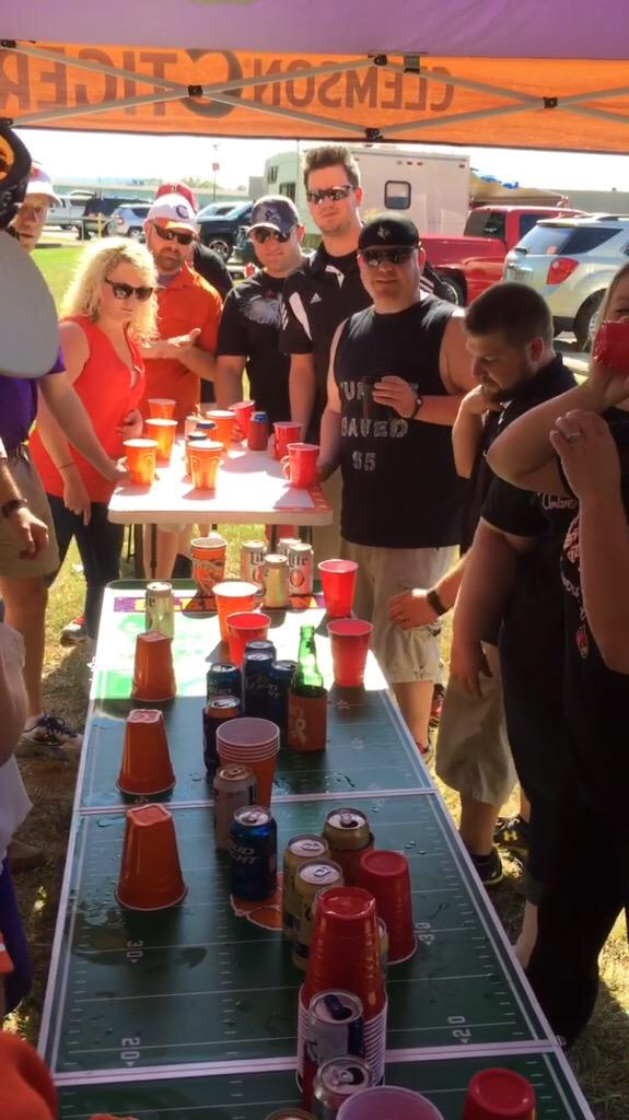 Just a friendly game of flipcup: Louisville vs Clemson style