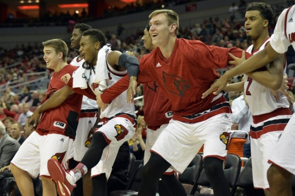 Nov 24, 2015; Louisville, KY, USA; Louisville Cardinals center Matz Stockman (5) and guard Trey Lewis (3) react with their teammates on the bench during the second half against the St. Francis Brooklyn Terriers at KFC Yum! Center. Louisville defeated St. Francis-NY 85-41. Mandatory Credit: Jamie Rhodes-USA TODAY Sports