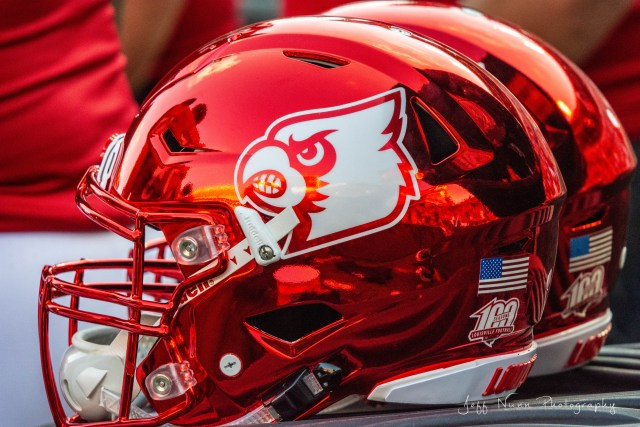 Louisville Football Helmet - Red Chrome
