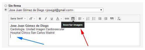Insertar imagen firma Gmail