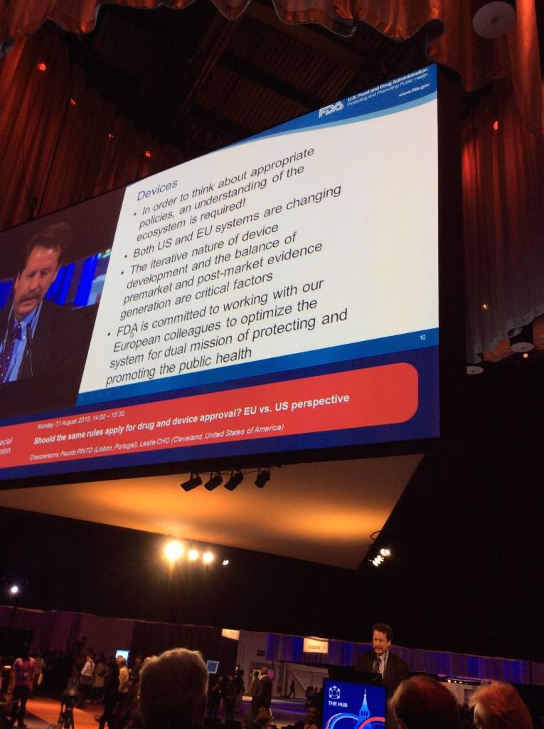 Rob Califf speaking last month at the European Society of Cardiology meeting in London