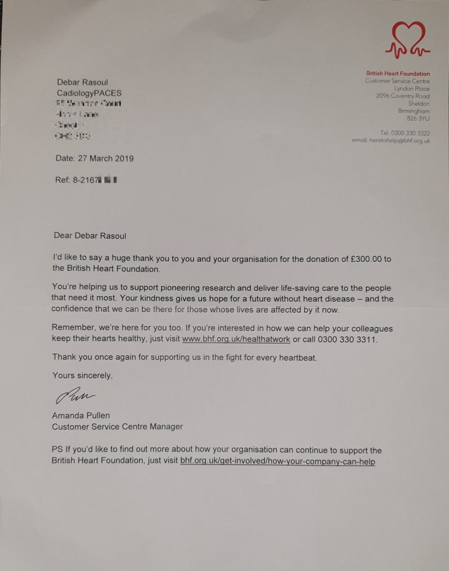 CardiologyPACES BHF donation