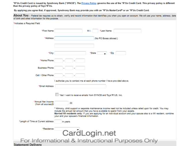 Toys R Us How To Login Apply Guide Synchrony Bank Credit Card