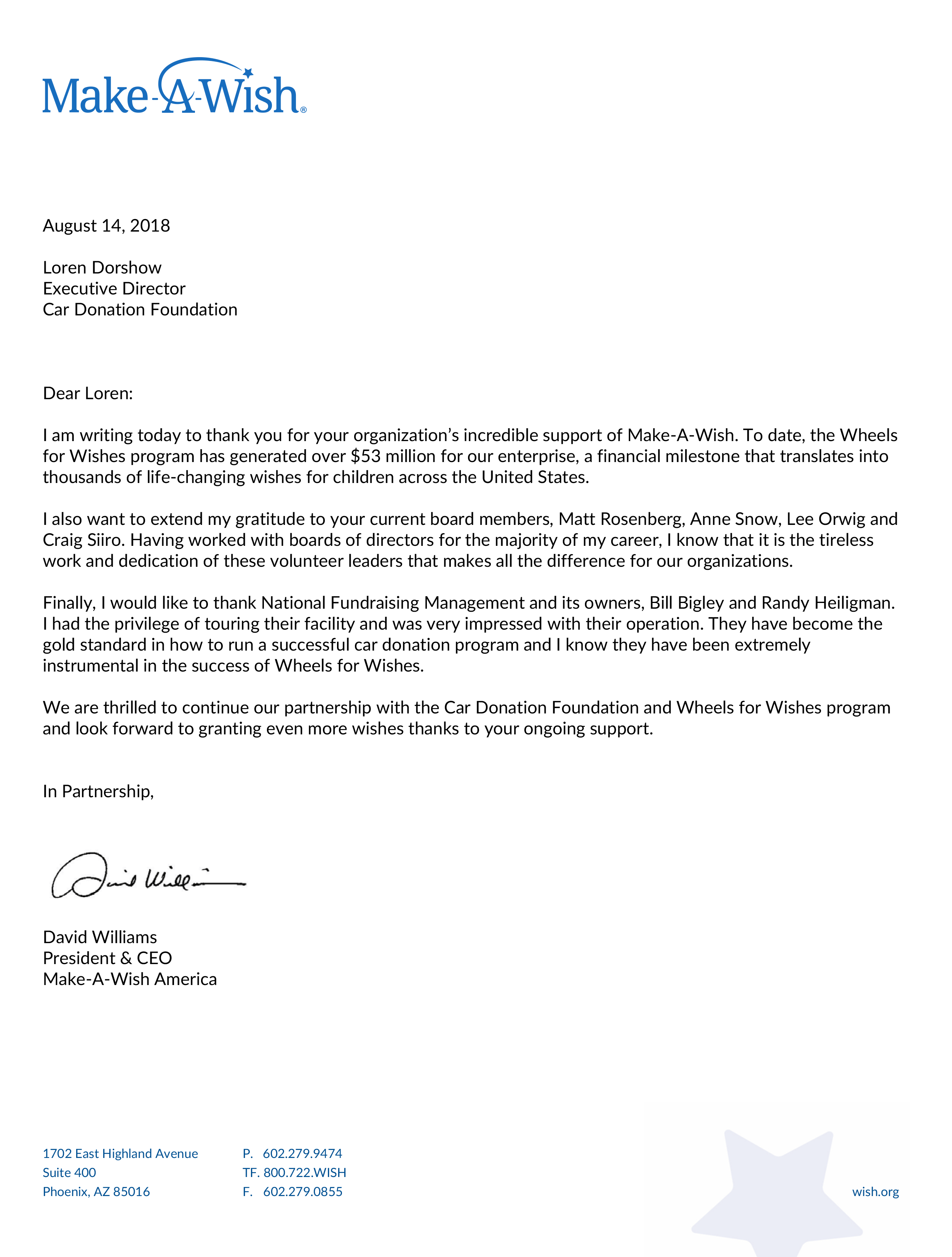 Thank You Letters Car Donation Foundation