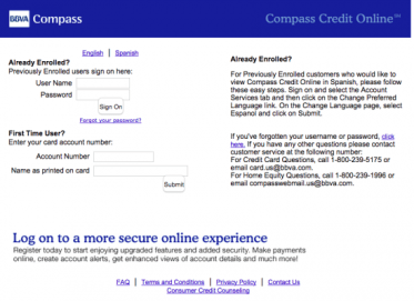 Image result for bbva compass credit card login activation