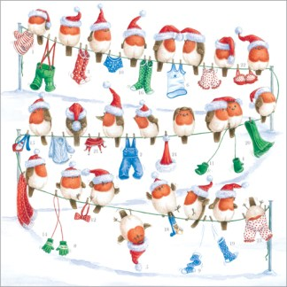 "Robins Advent Calendar £5.50 12"" x 12"" with 24 doors to open Code ADV21 traditional advent calendar"