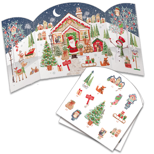 Santas House advent calendar with pop out pieces to insert each day. Code ADV34traditional advent calendar