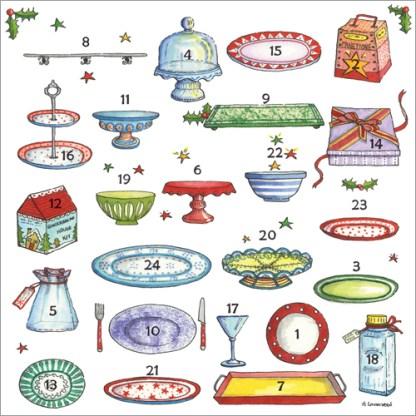 Christmas plates advent calendar card Phoenix Trading