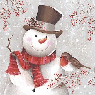 snowman and robin
