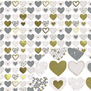 metallic gold hearts gift wrap