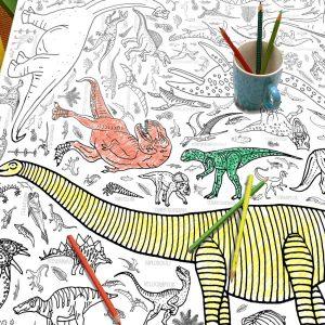 colour in dinosaur tablecloth