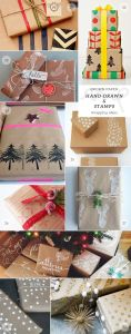 stamped brown kraft wrapping paper