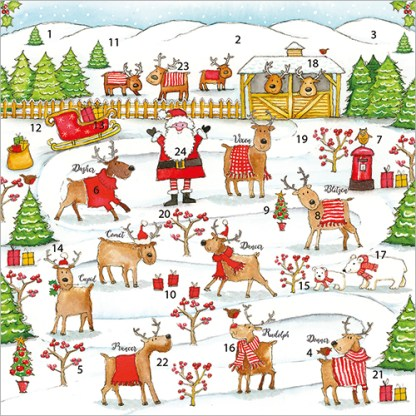 Rudolph and Friends Advent Calendar Card