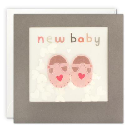 new baby pink shoes shakies card