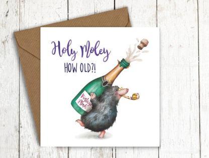 Holey moley mole birthday card
