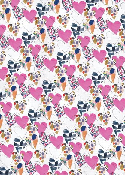 Hearts gift wrap by Stop the Clock Design