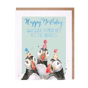 Birthday Candles Puffin card