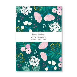 green floral notebook