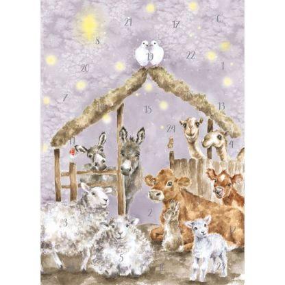 Away in a Manger advent calendar card