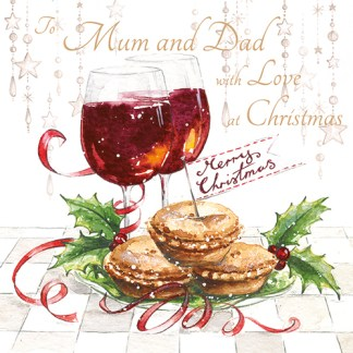 Mulled Wine and Mince Pies Mum and Dad Christmas Card