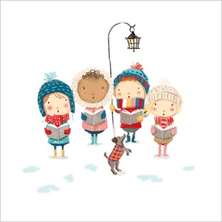 Little Carol Singers Christmas Cards