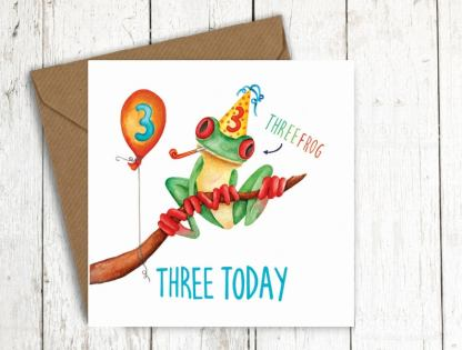 Three today frog birthday card