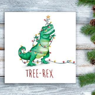 Tree Rex Christmas card