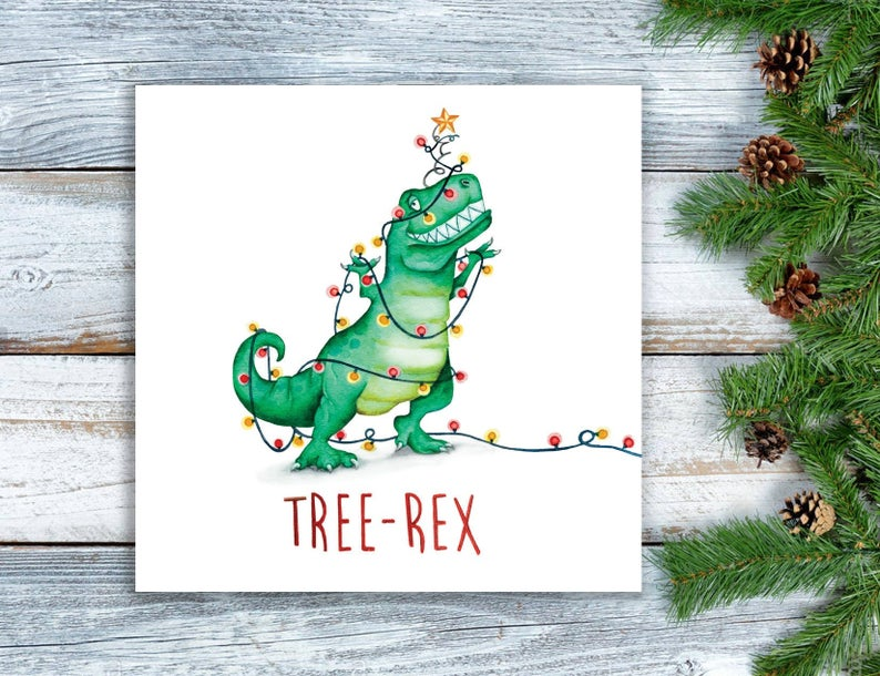 Tree Rex Christmas card