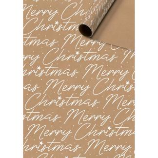 Merry Christmas patterned kraft christmas 3m roll wrap