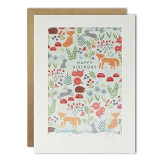 Happy Birthday Woodland shakies Card