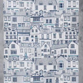 Seaside cottages tea towel